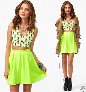 Neon Lime Scuba Skater Skirt Flared Rockabilly Mini Vintage Rocker A Line | eBay