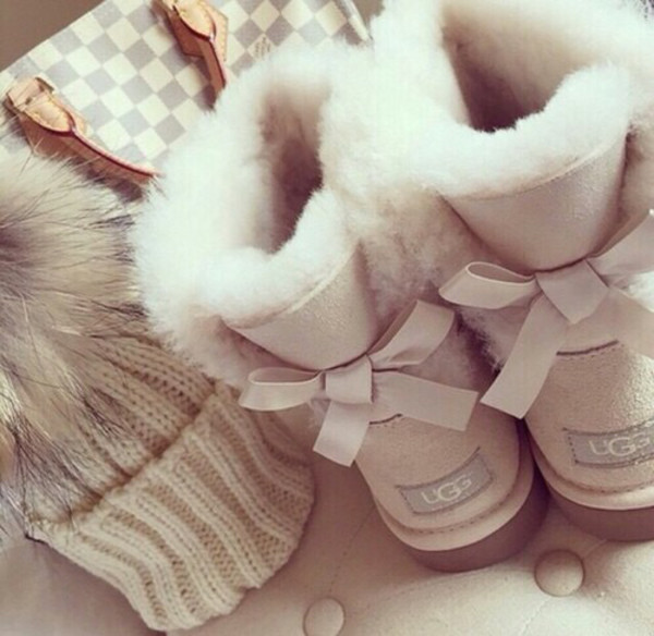Ugg Boots Beige Bow Shoes Cute Shoes Shoes Bag Hat