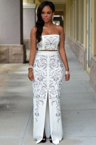 skirt front slit skirt set cute skirts party white jeweled white jeweled skirt wots-hot-right-now jeweled white white two piece set cute party skirt