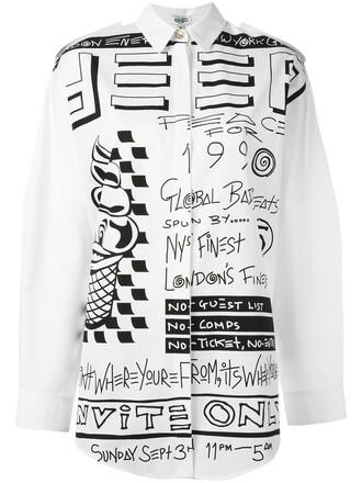shirt women white cotton print top