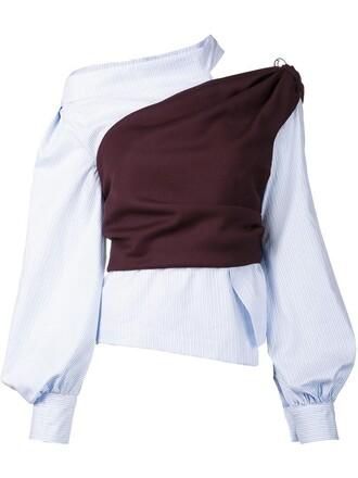 blouse women cotton blue wool top