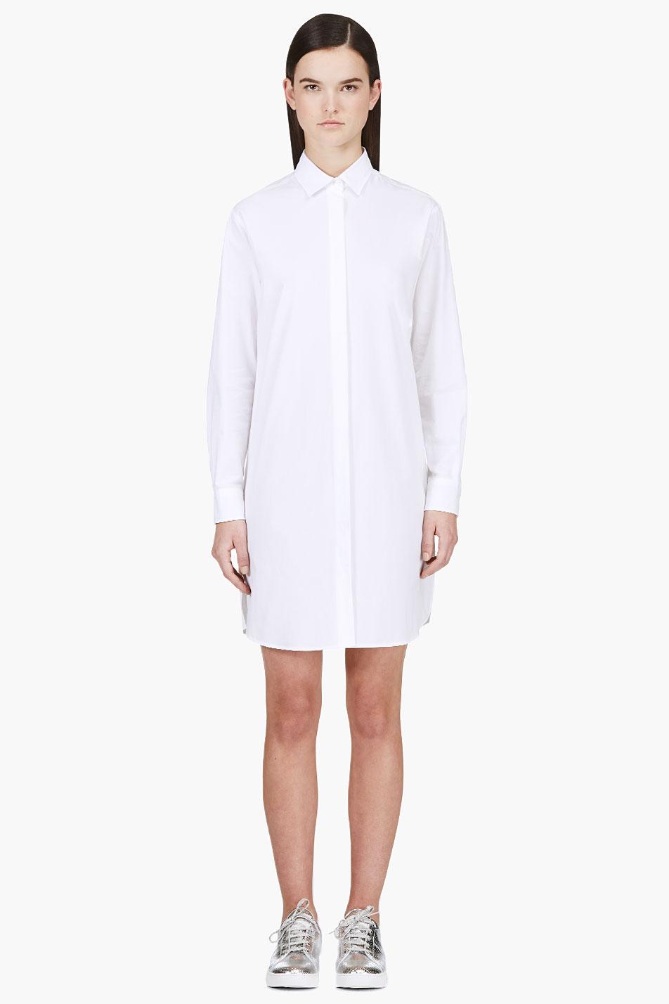 Msgm White Classic Shirt Dress