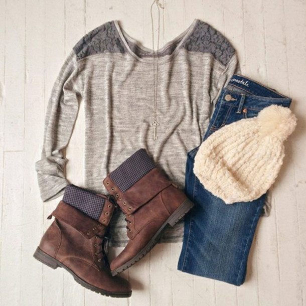 t-shirt jeans blue shoes winter shoes pullover grey jewerly necklace pom pom beanie brown leather boots top brown boots beannies blouse tumblr outfit winter sweater tumblr sweater hat shirt lace blue jeans beanie cute cute outfits booties