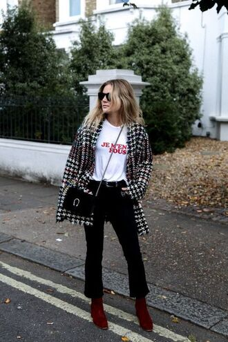 coat tumblr houndstooth printed coat masculine coat t-shirt white t-shirt quote on it pants black pants kick flare bag black bag gucci gucci bag dionysus boots red boots mid heel boots french girl style
