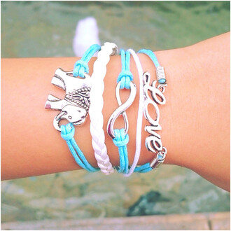 jewels love elephant bracelets blue white cute infinity layered adorable wisdom wise fun braided braided bracelet