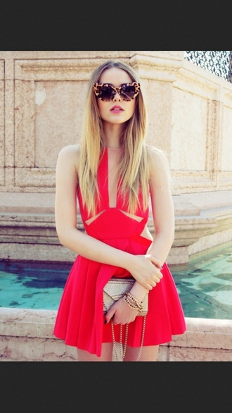 dress ruffle sunglasses cat eye leopard print red dress summer dress beautiful red dress