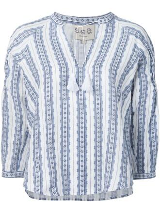 blouse tunic women blue top