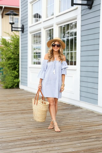 suburban faux-pas blogger dress shoes hat sunglasses jewels bag off the shoulder stripes striped dress mini dress t-shirt dress straw hat beach bag bardot dress off the shoulder dress summer dress summer outfits basket bag straw bag tortoise shell tortoise shell sunglasses sun hat sandals sandal heels high heel sandals