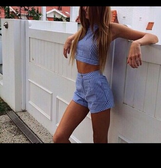 shorts crop top and shorts blue and white striped