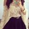 See-through crochet batwing sleeve blouse disheefashion
