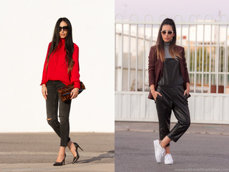 with or without shoes blogger red top blouse black heels clutch animal print burgundy sweater white sneakers