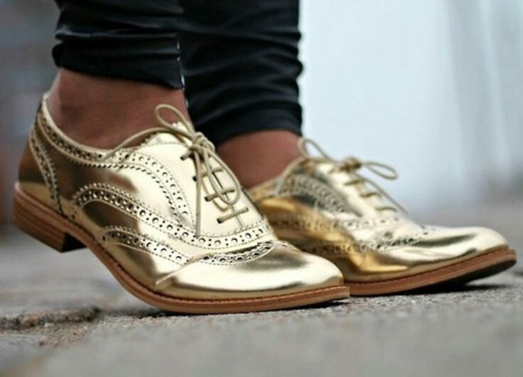 shoes gold oxfords