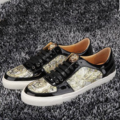 shoes,versace patent leather low-top sneakers