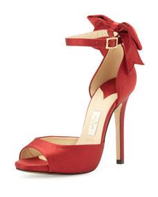 chrissie satin bow dorsay sandal, red