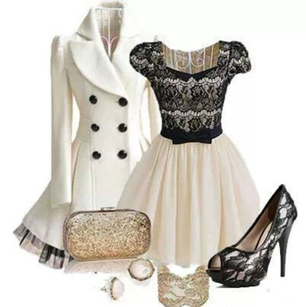coat dress white overcoat lace heels