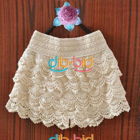 Lady Sweet Womens Shorts Cute Crochet Tiered Lace Shorts Skirts Short Pants | eBay