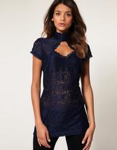blouse,top,shirt,long blouse,short sleeve,turtleneck,high neck,cut-out,cut out chest,lace,navy,dark colour