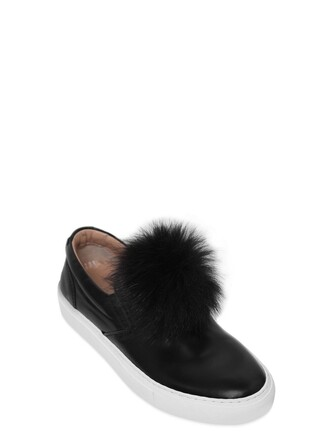 fur sneakers leather black shoes