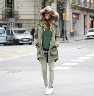 rebel attitude blogger sweater cable knit parka khaki winter coat winter outfits coat jacket pants shoes shirt hat