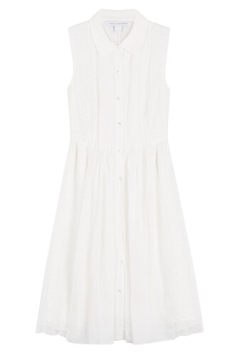 shirtdress sleeveless lace white dress