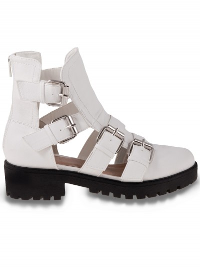 White Pu Buckled Biker Shoes | Shoes | Desire