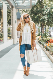 cortinsession,blogger,jewels,cardigan,tank top,shoes,bag,sunglasses,fall outfits,handbag,ankle boots