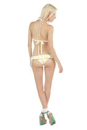 swimwear lolli swim bikini bottoms print stripes white yellow bikiniluxe