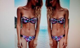 swimwear pink bandage push up swimwear colourful sexy summer