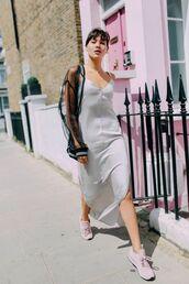 shoes,tumblr,maxi dress,slip dress,silver,silver dress,pink sneakers,Reebok,jacket,mesh,dress