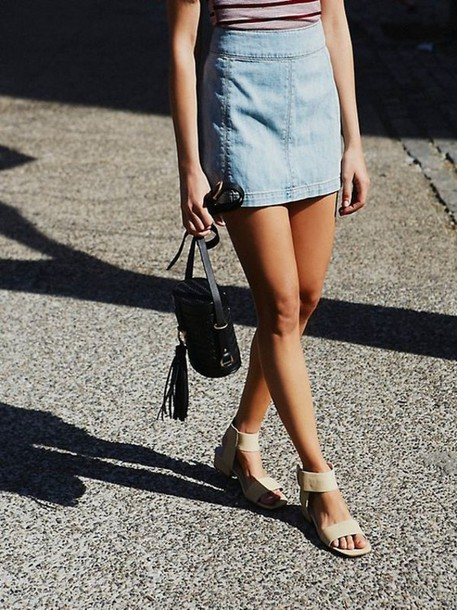 c6a7a5f6cad shoes block heel sandals nude sandals sandals skirt mini skirt blue skirt  denim skirt bag black
