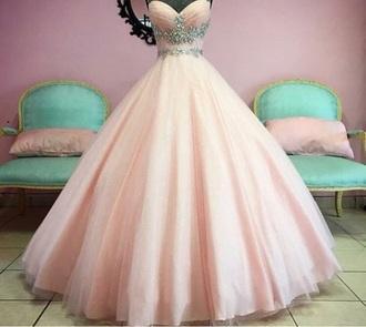 dress pink dress ball gown dress cinderella bling