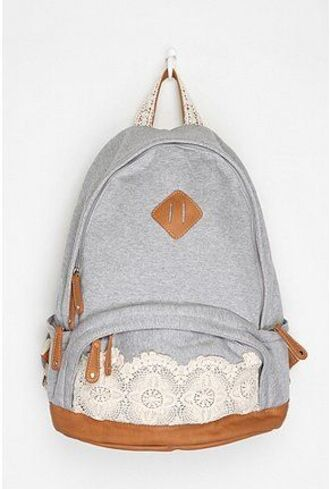 bag denim backpack lace backpack blue and white grey backpack