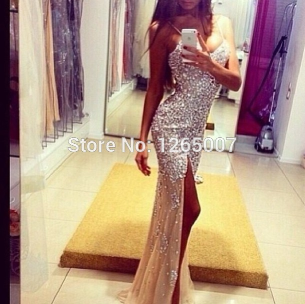 Aliexpress.com : Buy Fashion Spaghetti Traps V Neck Diamond Beaded Rhinestone Shiny Mermaid Sparkly Slit Prom Dress Maxi Dress Formal 2014 Nude Dress from Reliable dress swimsuit suppliers on SFBridal