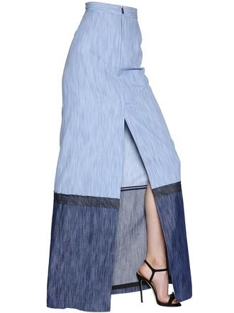 skirt long skirt denim long slit cotton blue