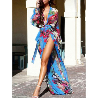 dress haute rogue maxi dress floral dress high slit dress thigh slit deep v dress wrap dress blue dress long sleeve dress sexy dress summer dress