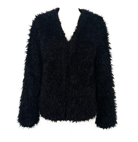 Black soft faux fur coat
