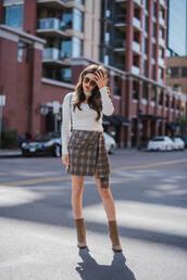 skirt,tumblr,mini skirt,tartan,tartan skirt,asymmetrical,top,white top,boots,ankle boots