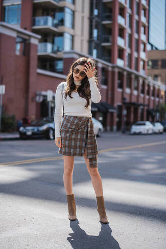 skirt tumblr mini skirt tartan tartan skirt asymmetrical top white top boots ankle boots