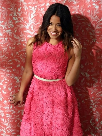 dress gina rodriguez pink crew neck roses jane the virgin