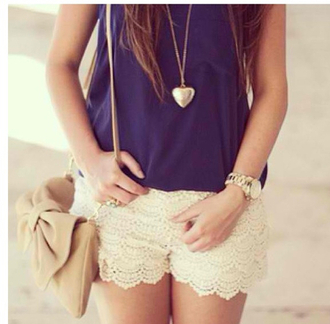 bag shorts lace laceshorts heart necklace top blue white watch buy cream bows purse buy trends jewels