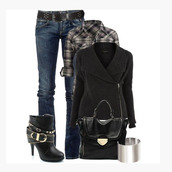 shoes,coat,side zipper,collar,black coat,black,shirt,half sleeves,button up,plaid,jeans,long sleeves,bracelete,bag,purse,black purse,boot,ankle boots,black ankle boots,heels,buckles,straps,clothes,outfit
