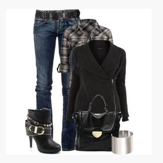 black clothes bag shoes jeans shirt outfit heels coat purse side zipper collar black coat half sleeves button up plaid long sleeves bracelete black purse boot ankle boots black ankle boots buckle straps