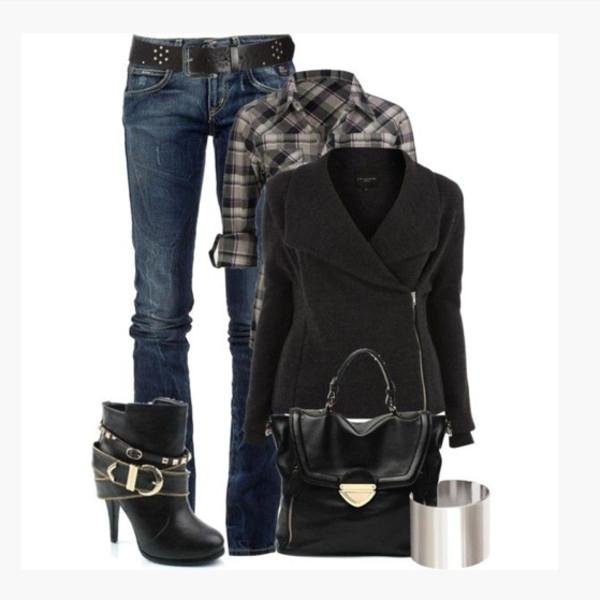 shoes coat side zipper collar black coat black shirt half sleeves button up plaid jeans long sleeves bracelete bag purse black purse boot ankle boots black ankle boots heels buckles straps clothes outfit