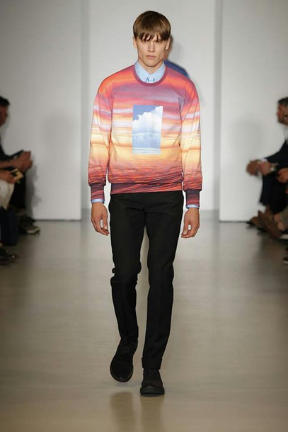 sweater sunset red orange yellow blue sky cloud tshirt menswear clavin klein spring 2014 ocean