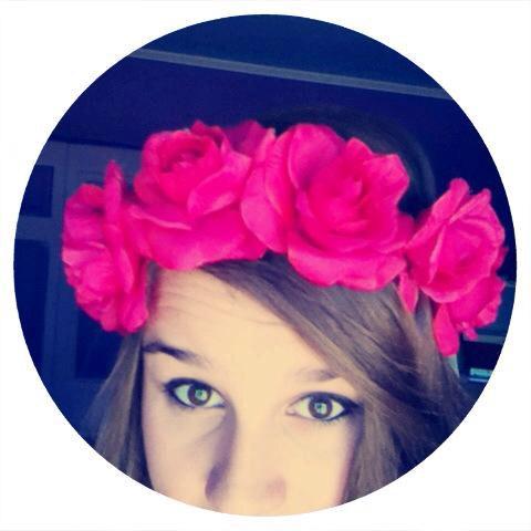 Dark pink roses flower crown with ribbon  by oceanofflowers