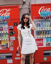 dress,mini dress,button up,sunglasses,white dress