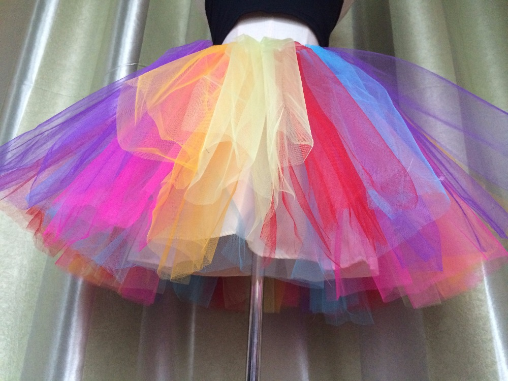 Aliexpress Buy Puffy Brand New 2015 Color Block Rainbow Tutu Tulle Skirts Adult 38cm Short Colorful Princess Women Party Stage Cosplay From