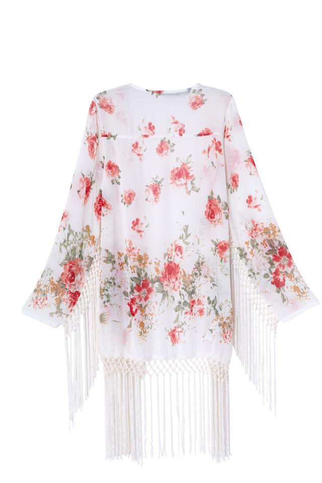 Aliexpress.com : Buy Free shipping Women's print tassel long sleeve kimono Shawls outerwear high quality from Reliable shawl plain suppliers on LOOK BOOK STORE WHOLESALE.