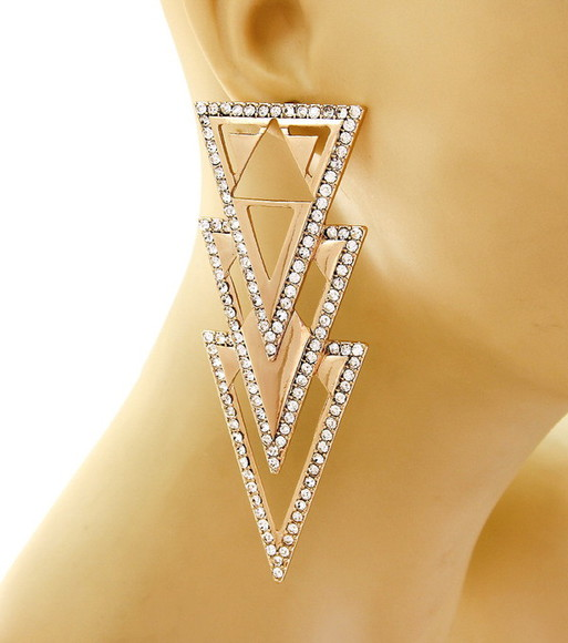 jewels earrings triangle crystal gold
