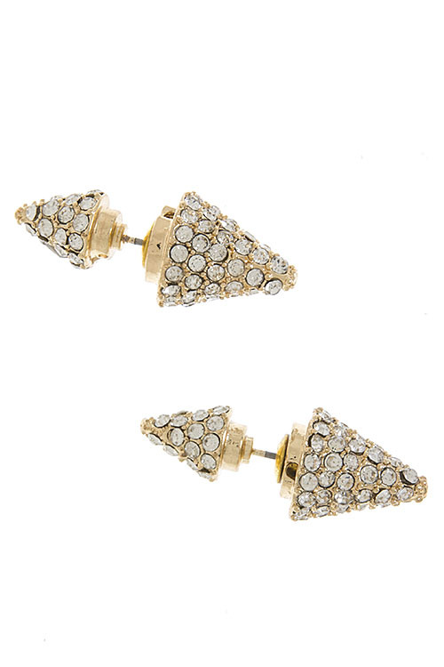 Crystal cone spiked double sided stud earrings